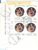 STORIA POSTALE, RAFFAELLO NATALE 83 £.500 X 4 QUARTINA, £. 2000 TASSA  SU BOLLETTINO SPEDIZIONE  PACCO ORDINARIO, - 6. 1946-.. Repubblica