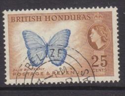 British Honduras, Elizabeth II, 1953, 25 Cents, Blue Butterfly, Used, Belize C.d.s. - British Honduras (...-1970)