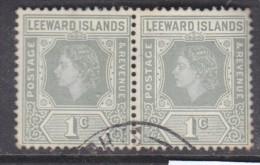 Leeward Islands, Elizabeth II, 1 Cent Grey, Pair, Used - Leeward  Islands