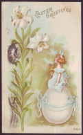 EASTER GREETINGS. GIRL WITH RABBIT ON GIANT EGG. LILY FLOWERS (PM 1907) - Zonder Classificatie