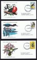 1979  Birds  Series Frigate, Gaulin, Carib  WWF FDCs With Inserts - Barbados (1966-...)