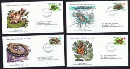 1979   Nature Series: Frog, Lobster, Lizard, Monarch Butterfly  WWF FDCs With Inserts - Bermudes