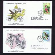 1976  Bird Series: Carib, Hummingbird   WWF FDCs With Inserts - St.Vincent (1979-...)