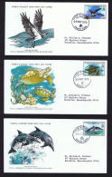 1979  Sealife Series: Osprey, Turtle, Dolphin   WWF FDCs With Inserts - St.Vincent & Grenadines