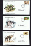 1977 Nature Protection; Otter, Fox, Hyena   WWF FDCs With Inserts - Bophuthatswana