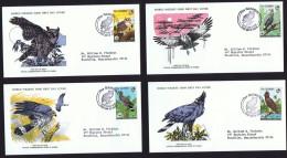 1979  Birds Of Prey: Owl, Buzzard, Hawk, Eagle   WWF FDCs With Inserts - Gambia (1965-...)