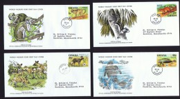 1977  Endaangered Animals: Colobus Monkey, Squirrel,  Wild Dog, Manatee  WWF FDCs With Inserts - Ghana (1957-...)