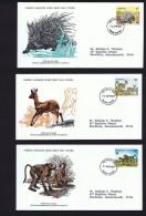 1977  Endangered Animals: Porcupine, Klipspringers, Baboons    WWF FDCs With Inserts - Lesotho (1966-...)