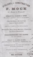 F73 - SCHILTIGHEIM 1888 - F. MOCK - ATELIERS DE CONSTRUCTION - CHAUDIERE - CHAUDRONNERIE -  ALSACE - BAS RHIN - 67 - - France