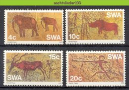 Mwk014 FAUNA GROTTEKENINGEN OLIFANT NEUSHOORN HERT DEER ELEPHANT RHINO CAVE DRAWINGS FELSMALEREI SWA 1976 PF/MNH - Archeologie