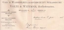 F98 - STRASSBURG 1888 - VOLTZ WITTNER - CONDUITE De GAZ Et EAU - STRASBOURG - ALSACE - BAS RHIN - 67 - - France