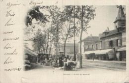 95 BEZONS PLACE DU MARCHE ANIMEE CARTE PRECURSEUR CIRCULEE 1903 - Bezons