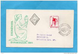 MARCOPHILIE- Lettre -HONGRIE*- Cad  Illustrée  DC1964- Sports- JEU DE QUILLES-- - Marcophilie
