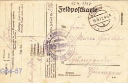Feldpost WW1: Landwehr Fussartillerie Bataillon 57 Posted 15.4.1917 - Plain Postcard   (G64-57) - Militaria