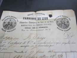 Facture De 1863 Brevets D Invention Fabrique Du Lion Allumette Chimique En Cire Et En Bois Exposition De Marseille 1861 - Francia