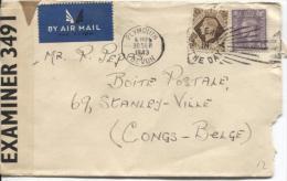 GB Air Mail Cover Plymouth 1943 Censored Examiner 3491 To Belgian Congo PR864 - Briefe U. Dokumente