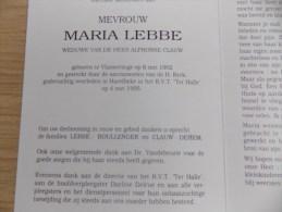 Doodsprentje Maria Lebbe Vlamertinge 6/5/1902 Harelbeke 4/5/1995 ( Alphonse Clauw ) - Religion & Esotericism