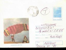 INTERO POSTALE VIAGGIATO - POSTA ROMANA  1996 Parachuting Paracadute - Paracadutismo