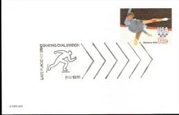 Cartolina Postale Lake Placid Olimpi Games Short Trak - Pattinaggio Artistico