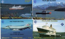 TELECARTES  FALKLAND   Bateaux/Avion  Boats/Plane £5/£7,50/£10/£10  (lot De 4)  *****5 - Falkland