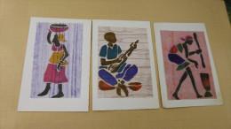3 CARTES DOUBLE...DESSIN TISSU....PROVENANT DU BURKINA FASO... - Ethniques & Cultures