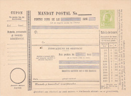 190? BULETIN D´EXPEDITION MANDATE POSTALE INTERNATIONALE,IMPRINTED POSTAGE 5 BANI,CAROL.(A1) - Parcel Post