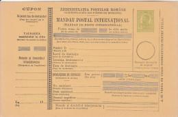 190? BULETIN D´EXPEDITION MANDATE POSTALE INTERNATIONALE,IMPRINTED POSTAGE 5 BANI,CAROL.(A1) - Paquetes Postales