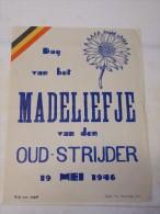 Affiche Poster Dag Vh Madeliefje Vd Oudstrijder 1946 - Druk Van Herrewege Gent - Diplomas Y Calificaciones Escolares