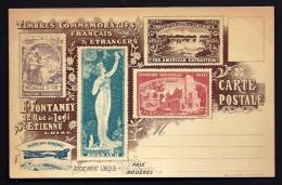 CPA  ANCIENNE FRANCE- PRÉSENTATION DE TIMBRES FRANCAIS ET  ETRANGERS 1900- 1901- VOIR PUB AU VERSO- ST ETIENNE (42) - Postzegels (afbeeldingen)