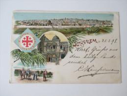 Ansichtskarte Österreich Levante  Jerusalem 1898 Mehrbildkarte. RAR!! Echt Gelaufen Nach Forchtenberg.Groupe Des Bedoins - Palästina
