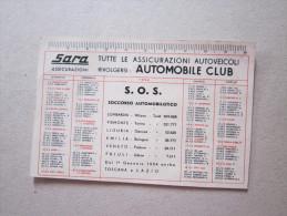 Calendarietto 1954 SARA Assicurazioni Autoveicoli AUTOMOBILE CLUB - Calendari