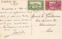 "ALGERIEN 1937 - 25+30C Sondermarken Auf Fotokarte ""ALGER, La Mèdersa"" - Algerien (1924-1962)"