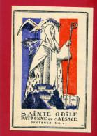 IMAGE PIEUSE PATRIOTIQUE 1940 SAINTE ODILE PATRONNE DE L ALSACE DESSIN DE GABRIEL LOIRE VERRIER A CHARTRES VITRAIL - Documents