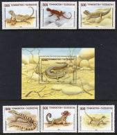 TAJIKISTAN 1995 Lizards Set And Block MNH / **. - Tajikistan