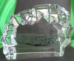 Vintage Scandinavian Sweden LINDSHAMMAR Crystal Glass Paperweight Goteborgs Sparvagar Rail - Glass & Crystal