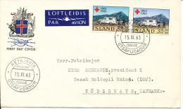 Iceland FDC 15-11-1963 International RED CROSS 100th Anniversary Sent To Denmark - Rode Kruis