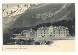 Cp, 38, Saint-Laurent-du-Pont, Et L'Hospice Fondée Par Les R.R. Pères Chartreux, Voyagée 1903 - Saint-Laurent-du-Pont