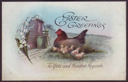 EASTER GREETINGS. CHICKEN WITH CHICKS, LILY OF THE VALLEY. Unmailed Postcard, 1910's - Pasen