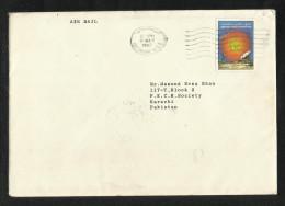 United Arab Emirates UAE 1987 Air Mail Postal Used Cover Abu Dhabi To Pakistan - Abu Dhabi