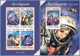 st13613ab S.Tome Principe 2013 Space Yuri Gagarin 2 s/s