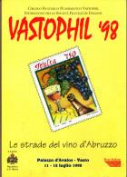 """VASTOPHIL  1998 - Libro Di 60 Pagg - """"Le Strade Del Vino In Abruzzo"""" - Francobolli"""