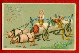 RUSSIA GERMANY CHRISTMAS CHILDREN PIGS AND MONEY VINTAGE EMBOSSED PC USED W677 - Other