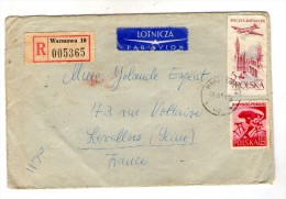 Lettre , POLOGNE , 1961 , R , Recommandé WARSZAWA 10 , LOTNICZA , PAR AVION - Machine Stamps (ATM)
