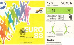 FUSSBALL-FOOTBALL-SOCCER- CALCIO, Western Germany, EURO 1988, ORGINIAL TICKET !! - Eurocopa (UEFA)