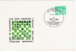 Germany Deutschland DDR, Chess 1987, Canceled In Glauchau - Scacchi