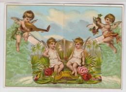 Mignonette Double à Système Avec Jolie CHROMO DECOUPIS  à L'intérieur - Enfants - Angelots - Anges - Mandoline - Chromos