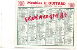 87 - LIMOGES - CARTE CALENDRIER - MEUBLES H. GUITARD   PLACE CARNOT 1960 - Unclassified