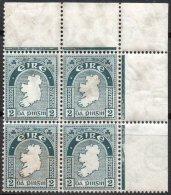 IRLANDE - Bloc De 4 Coin De Feuille  De 2p. De 1922-24 Neuf - 1922-37 Stato Libero D'Irlanda