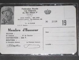 FEDERATION ROYALE LERS VETERANS DU ROI ALBERT Ier - Carte Membre Vierge - - Unclassified