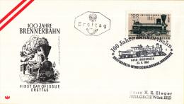 Oostenrijk - FDC 23-9-1967 - 100 Jahre Brennerbahn - Michel 1245 - FDC